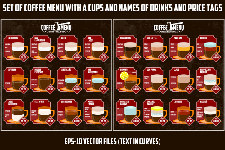 Coffee menu. Types of coffee drink, composition, price tags.