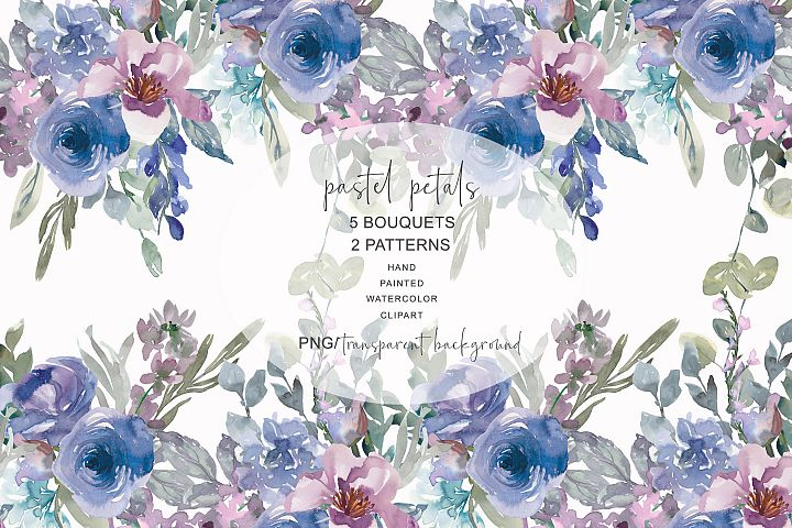 Watercolor Pastel Blue and Mauve Floral Bouquet Clipart