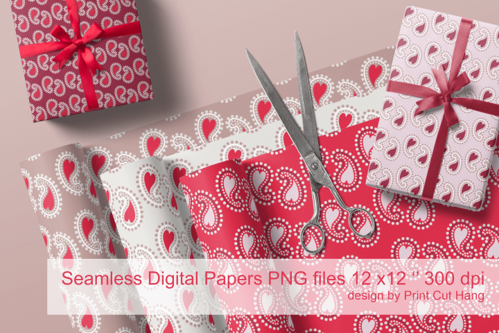 Red Beige Paisley with Hearts Seamless Papers 10 PNG files