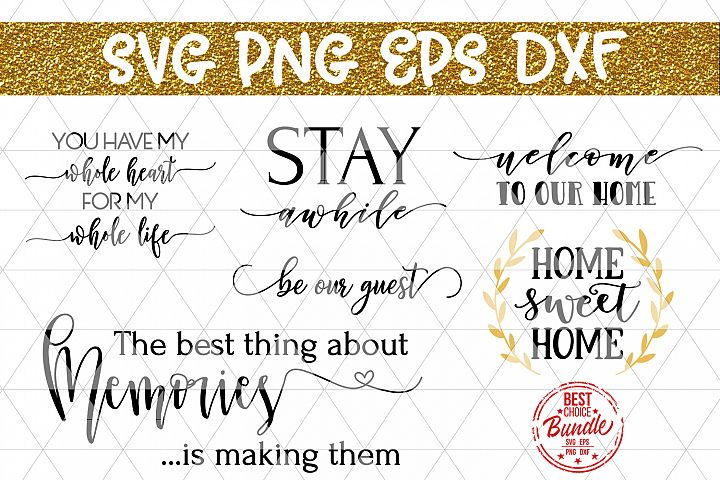 Home Bundle SVG File, Home Decor SVG, Wood Sign Sayings DXF