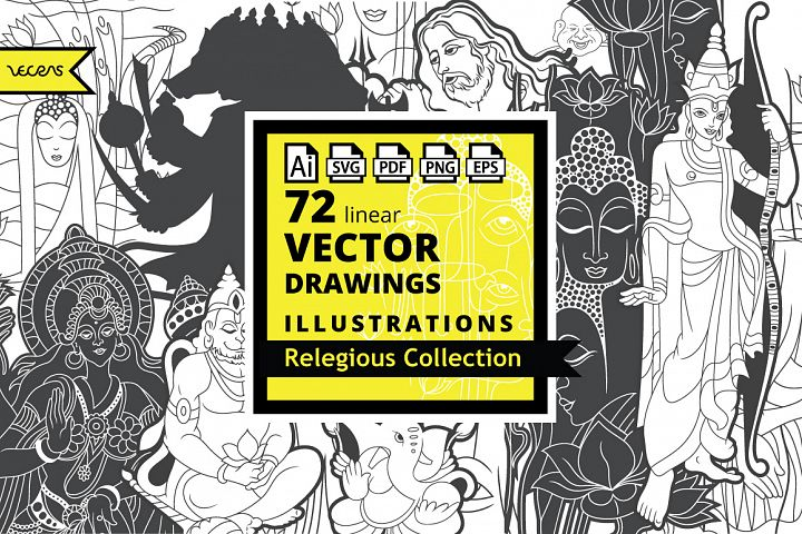 72 Linear Vector Illustrations Relegious Collection Pack