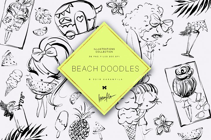 Beach Doodles Clipart