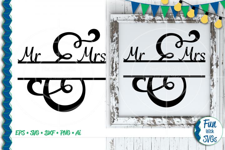 SVG Mr. and Mrs. Split Monogram, Cut File, Clip Art FWS502