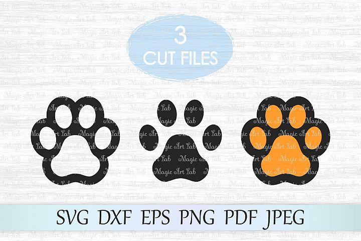 Paw print svg file, Dog paw cut file, Paw print clipart