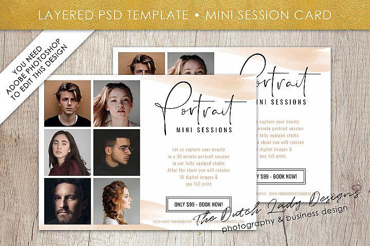 PSD Photo Mini Session Card Template - Design #29
