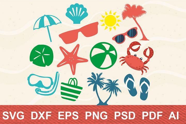 Beach Life Bundle,cutting machines,digital clipart,sun, palm