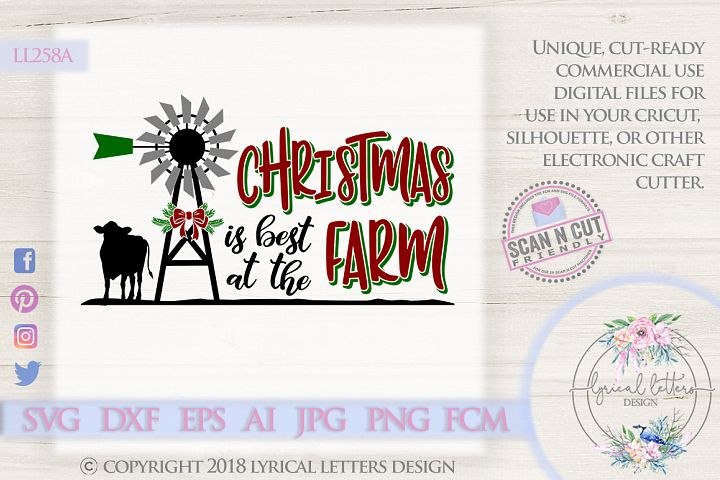 NEW! Farmhouse Christmas Best at the Farm Cow SVG LL258A