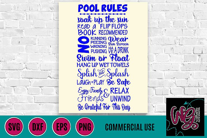 Pool Rules Sign SVG DXF PNG EPS Comm