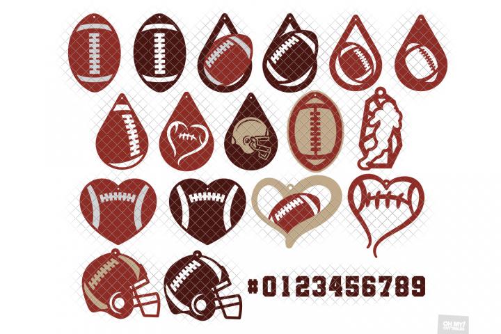 Football Earrings SVG in SVG, DXF, PNG, EPS, JPG