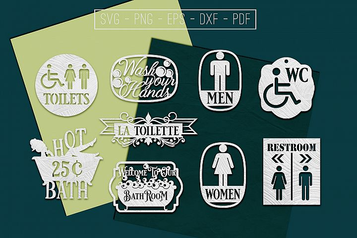 Restroom Paper Cut Templates Bundle, Bathroom SVG, PDF, DXF