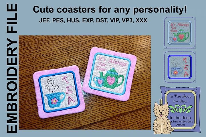 Tea Time Coasters - 4 x 4 and 5 x 7 Hoops