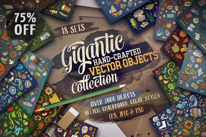 - 75 SALE/ Cartoon Vector Objects Gigantic Bundle/ Part 1