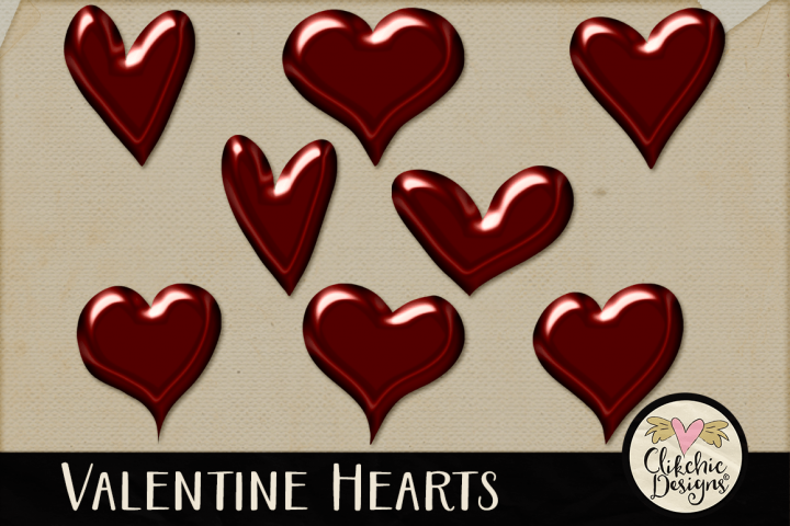 Valentine Hearts Clipart Elements