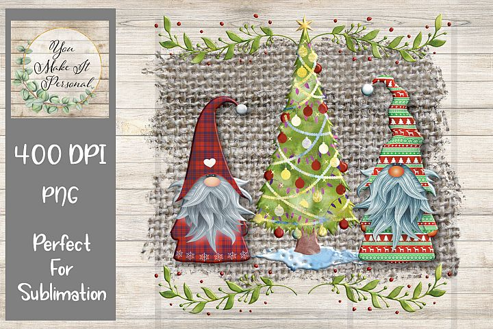 Gnome Christmas Design on Burlap Background