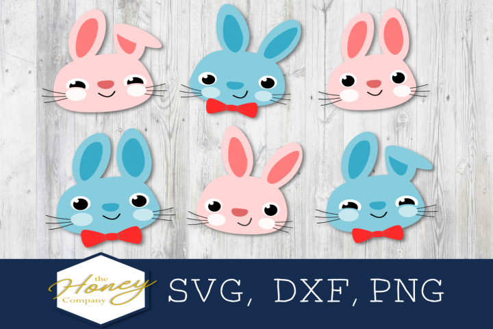 Easter Bunny SVG PNG DXF Happy Easter Spring Bow Tie Rabbit