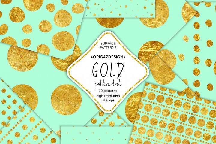 Gold foil Polka dot Mint Seamless Pattern