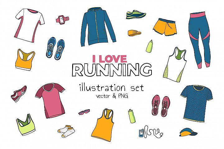 Running illustration set