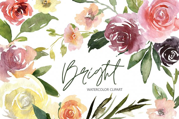 Watercolor Bright Roses Flowers, Bouquets and Pattern PNG