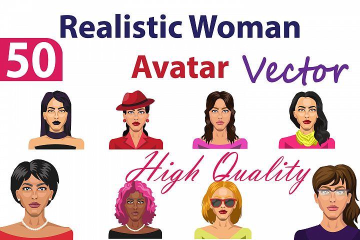 50X Realistic Woman Vector Portrait Illustrations