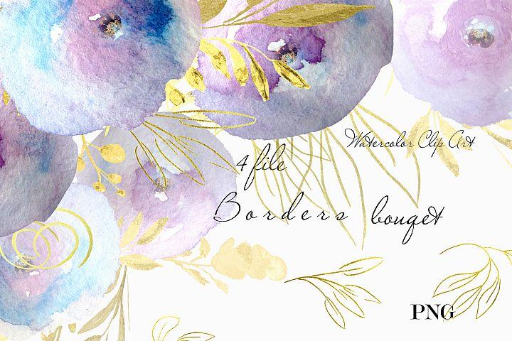 Gold & Purple floral borders Wedding design invitations