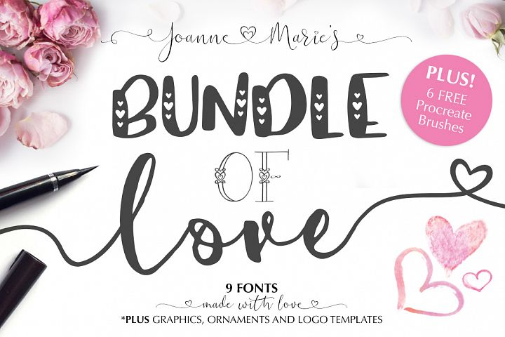 Valentines Font Bundle with 6 Free Procreate Brushes