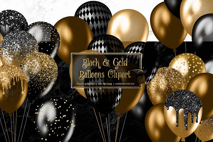 Black and Gold Balloons Clipart