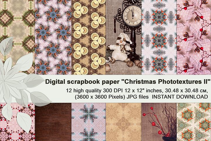 Beige vintage Christmas photographic textures, Digital paper