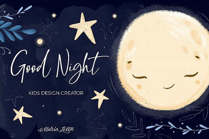 Good night - kids design creator