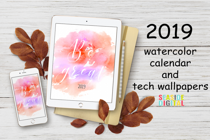 2019 Hand Paint Watercolor Calendar