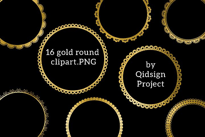 Gold Round clipart .PNG .JPG