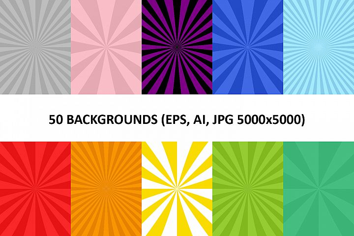 50 Burst Backgrounds AI, EPS, JPG 5000x5000