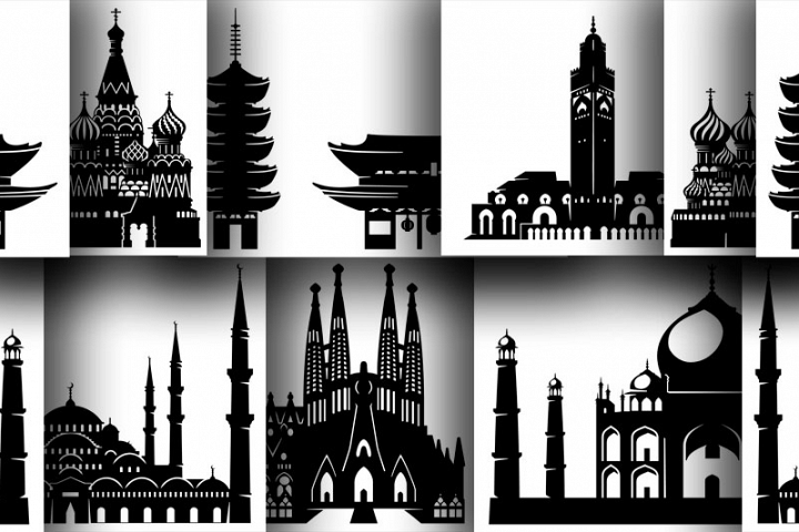 6 Architectural monuments in silhouettes for print or cut