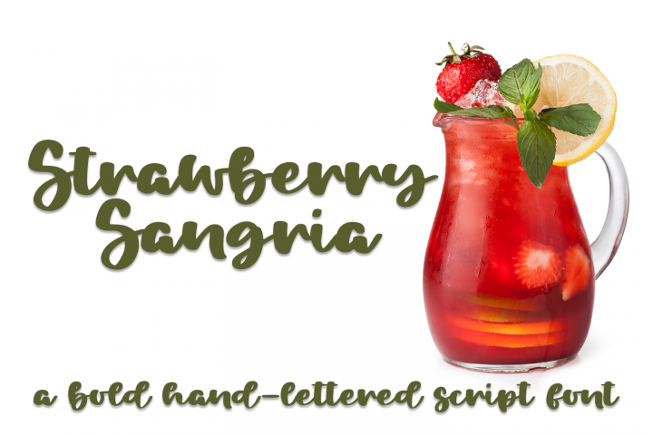 Strawberry Sangria - A Bold Hand-Lettered Script Font