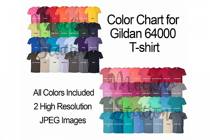 Color Chart for Gildan 64000 T-shirt, Digital Color Chart