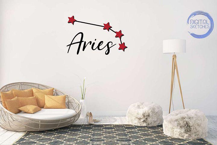 Zodiac Aries Vector Graphic, Constellation SVG, Astrology