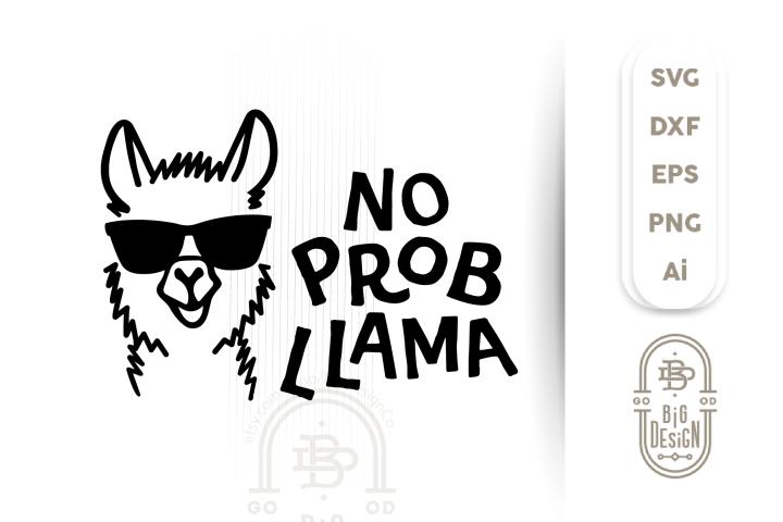 NO PROB - LLAMA SVG CUT FILE - Lama Head Svg Illustration