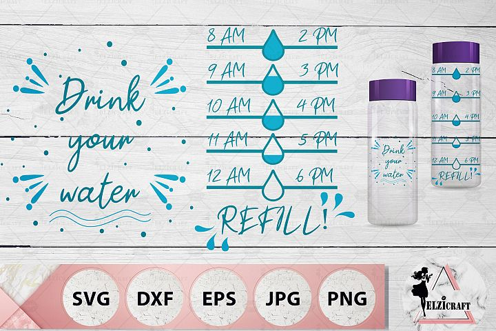 Water Bottle Tracker, Drink your water, Drops SVG Cut File
