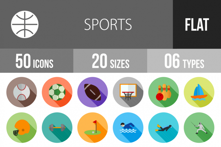 50 Sports Flat Long Shadow Icons