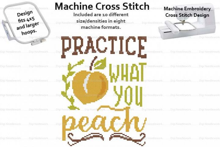 Practice What You Peach 4x5 Hoop Embroidery Cross Stitch