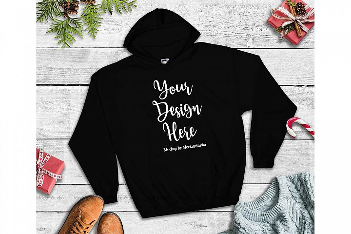 Black Christmas Hoodie Mockup, Winter Holiday Flat Lay