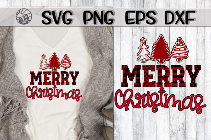 Merry Christmas - Buffalo Plaid - Doodle Trees - SVG PNG EPS