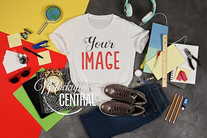 Teen T-Shirt School Mockup, Student Child Shirt JPG