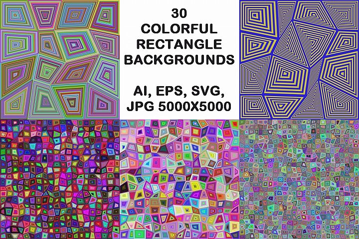 30 colorful rectangle backgrounds (AI, EPS, SVG, JPG 5000x5000)
