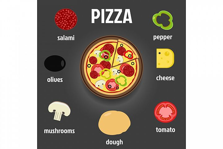 Pizza and Ingredients Illustration example