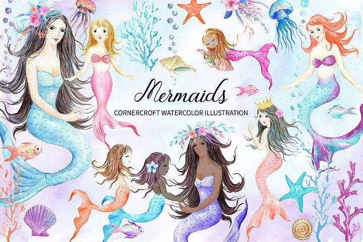 Watercolor mermaids illustration
