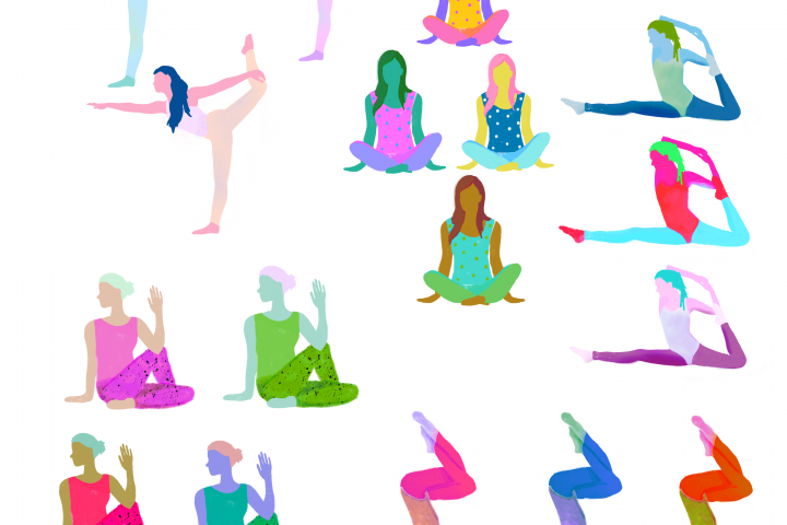 Yoga Poses Clip Art, Textured, Neon, Hand Painted Look