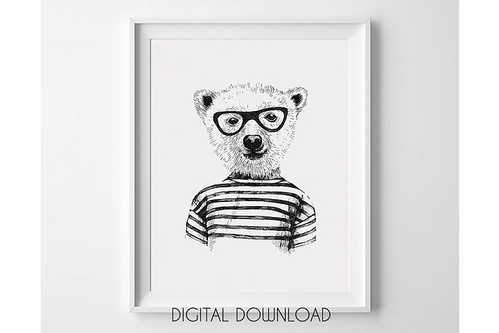 Hipster Animal Print for Nursery Room, Bear Wall Art Print