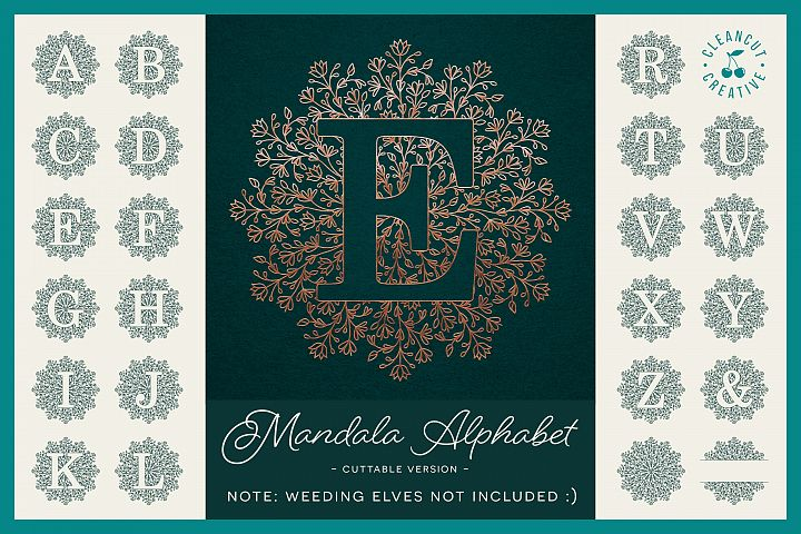 Intricate Mandala Monogram Alphabet in SVG DXF FCM EPS PNG