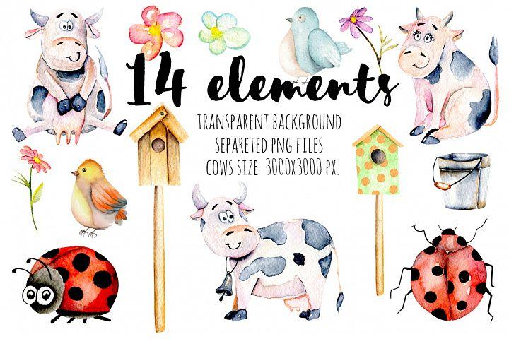 Cows. Watercolor clipart