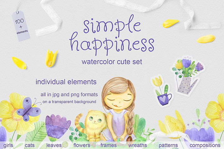 Simple happines. Set of watercolor flowers, leaves, cat and